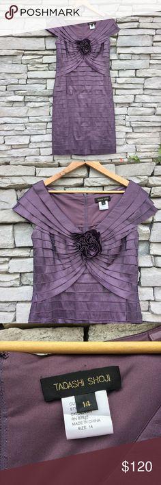 "TADASHI SHOJI Formal Purple Metallic Layered Dress Size 14 Like new condition!  Bust 42"" Length 44"" Measured flat Tadashi Shoji Dresses"