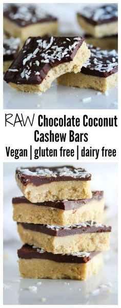 Chocolate Coconut Cashew Bars Chocolate coconut cashew bars made with simple, clean ingredients. Vegan, gluten free and dairy free Chocolate coconut cashew bars made with simple, clean ingredients. Vegan, gluten free and dairy free Healthy Vegan Dessert, Raw Vegan Desserts, Raw Vegan Recipes, Vegan Treats, Healthy Sweets, Dairy Free Recipes, Healthy Baking, Keto Recipes, Baking Recipes