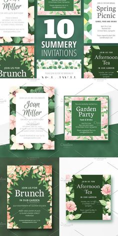 Ten colorful invitations suitable for any summer or spring event. Happy summer! Dimensions The portrait invitations are 5x7 inches printed at 300 DPI. The square invitations are 5x5 inches printed at 300 DPI. Fonts If you want to use the same fonts as in the preview images you have to download them. They're all free and listed in the PDF document. #Graphicdesign #graphics #Template #Modern #Graphics #New #ideas #Templates #Branding #best #Sample #new