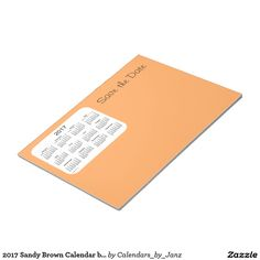 2017 Sandy Brown Calendar by Janz Notepad