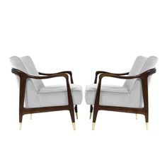 Gio Ponti Style Sculptural Walnut Lounge Chairs | From a unique collection of antique and modern armchairs at https://www.1stdibs.com/furniture/seating/armchairs/