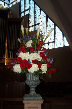 Image result for red white and blue wedding church altar flowers
