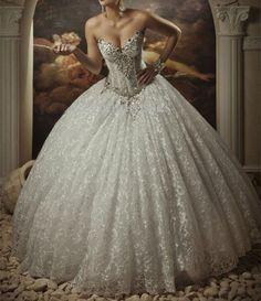 Luxury New Vintage White/Ivory Beaded Lace Wedding Dress Custom All Size 2-28+++