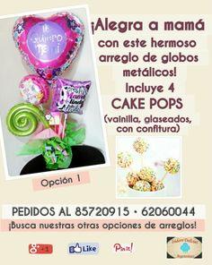¡Para mamá: arreglo de globos metálicos y cake pops! Opción 1