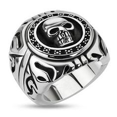 Gothic Punk Biker Soa Signet Ring the Reaper Head Mort ~ 8 À 15