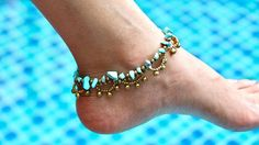 Turquoise Rocks Anklet Beads Anklet  Bohemian Anklet Woven