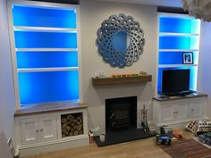 The shelving, cupboards and log store and lighting Alcove Storage, Alcove Shelving, Shelving Ideas, Alcove Cupboards, Built In Cupboards, Fireplace Built Ins, Fireplace Ideas, Built In Shelves Living Room, Snug Room
