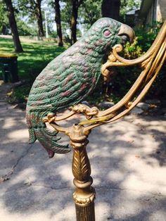 Vintage Antique Cast Iron Art Deco Parrot Lamp Original Paint circa ...