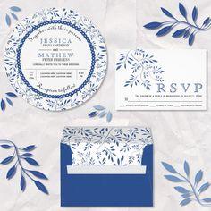 #Indigoblue leaves pattern #weddinginvitations collection