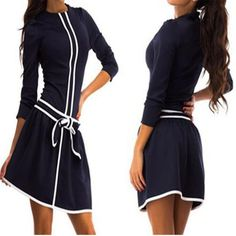 New Women Blue Patchwork White Bow Round Neck 3/4 Sleeve Mini Dress