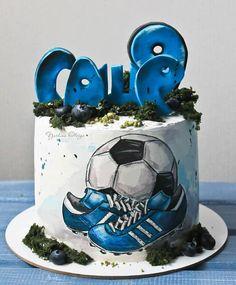 Sports Birthday Cakes, Sports Themed Cakes, Soccer Birthday Parties, Cute Birthday Cakes, Cake Frosting Designs, Cop Cake, Cake Sketch, Patisserie Design, Soccer Cake
