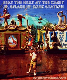 The Casey Jr. Splash 'N' Soak Station at Walt Disney World features whimsical circus animals ready to play!  Located in the Storybook Circus section of New Fantasyland, it is the PERFECT place to cool down on a hot day!  #waltdisneyworld #wdw #funforkids