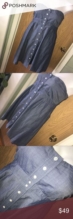 """Chambray J.Crew button front dress Super pretty blue chambray button front strapless dress. Great used condition. Had silicone around the top so it doesn't fall down. Had a zipper on the side. 20.5"""" from armpit to armpit, 30.5"""" total length. J. Crew Dresses Strapless"""