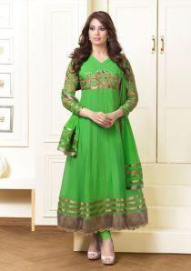 Gaabha Green Georgette Unstitched Anarkali Suits