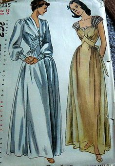 LOVELY VTG 1950s NIGHTGOWN & NEGLIGEE Sewing Pattern 16/34