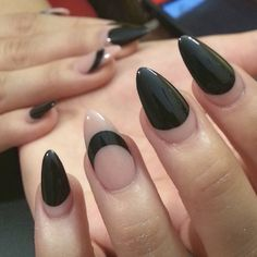 """""""⚫️#Almond flavor shape⚫️ / @thenailboss NAIL SECRET: Need a manicure BAD, but your nail tech schedule you for an appointment later than you expected❓ Here's a trick: designs like half moon, polishes only on the tips, and nail design as seen in the photos are good especially for new growth nails. If you keep the the nail polish #clear near the, eponychium no one will notice the new growth and you wouldn't be annoyed when look down at your nails Someone will quicker spot your new growth…"""