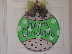 Christmas Ornament Wood Door Hanger Lime by AngelenesCollection, $48.00