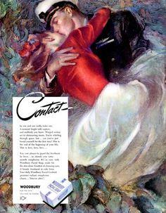 Woodbury Soap Navy Man Kissing His Girl John Lagatta Contact 1945 Magazine Ad | eBay