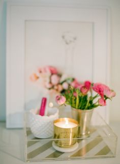 Decorative tray and candle: http://www.stylemepretty.com/living/2015/04/22/15-gleaming-gold-accents/