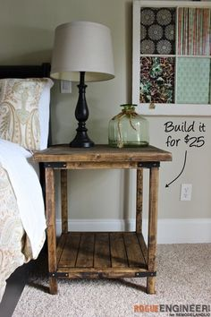 Diy Bedside Tables, Bed Side Table Ideas, Nightstand Ideas, Rustic Nightstand, Pallet Side Table, Rustic Side Table, Rustic Bedroom Furniture, Diy End Tables, Wood Side Tables