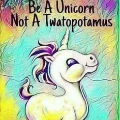 Be a unicorn, not a twatopotamus. Real Unicorn, Unicorn And Glitter, Unicorn Art, Rainbow Unicorn, Magical Unicorn, Pegasus, Unicorn Memes, Funny Unicorn Quotes, Unicorn Tattoos