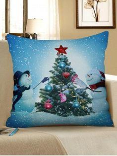 5444e0cc11d Christmas Tree Snowman Decorative Linen Pillowcase - LIGHT BLUE - W18 X L18  INCH