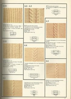 torsades et point de tricot 21 - m Gg++ - Alles Knitting Charts, Loom Knitting, Knitting Stitches, Free Knitting, Baby Knitting, Crochet Wool, Crochet Round, Crochet Motif, Homemade Scarves