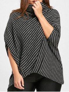 #RoseGal.com - #RoseGal Striped Asymmetrical Plus Size Poncho Sweater - AdoreWe.com