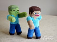 Crochet Toys For Boys Smartapple Creations - amigurumi and crochet: Minecraft Steve vs Zombie Cactus Amigurumi, Mini Amigurumi, Amigurumi Animals, Amigurumi Doll, Crochet Animals, Crochet Gifts, Cute Crochet, Crochet For Kids, Crochet Dolls