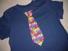 Infant Toddler Boys Autism Awareness Puzzle Tie Tee Shirt