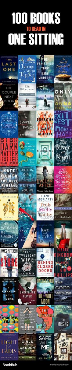 A great list of fast-paced books to read in one sitting, including a mix of thrillers, historical fiction, bestsellers, and other books to read for adults. - Tap to find the products you love with the best unique designs. 100 Books To Read, I Love Books, Good Books, My Books, Teen Books, Book Suggestions, Book Recommendations, Reading Lists, Book Lists