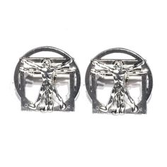 Vitruvian Man Cufflinks Silver OR Bronze Men's by Lynx2Cuffs