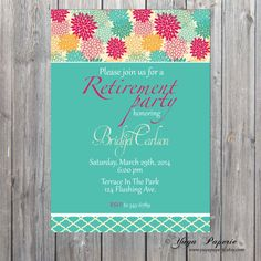 Retirement Invitation Adult Party Invitation by YuyaPaperie