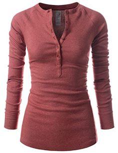 Women's Henleys - NEARKIN Womens Slim Cut Characteristic Hem Design Long Sleeve Tshirt at Women's Clothing store: Women's Henley, Henley Shirts, Autumn T Shirts, Vegan Fashion, Casual T Shirts, Blue Tops, Ideias Fashion, Cute Outfits, Tunic Tops