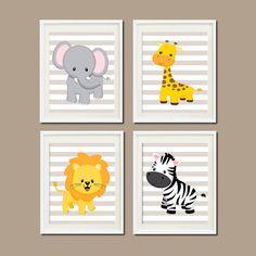 JUNGLE Nursery Wall Art ELEPHANT Giraffe Lion Zebra Set of 4 Prints Or Canvas Zoo Safari Animals Baby Boy Decor Wall ART Jungle Decor by LovelyFaceDesigns on Etsy https://www.etsy.com/listing/179209024/jungle-nursery-wall-art-elephant-giraffe