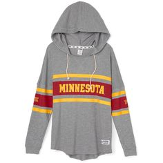 PINK University of Minnesota Varsity Pullover Hoodie ($65) ❤ liked on Polyvore featuring tops, hoodies, colorful hoodies, hooded pullover, pink hoodie, pink pullover hoodie and hoodies pullover