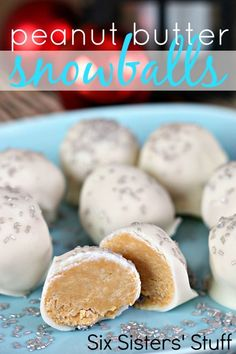 Peanut Butter Snowballs Recipe – Six Sisters' Stuff (christmas food party ideas peanut butter) Candy Recipes, Sweet Recipes, Holiday Recipes, Dessert Recipes, Simple Recipes, Christmas Recipes, Holiday Baking, Christmas Baking, Christmas Candy