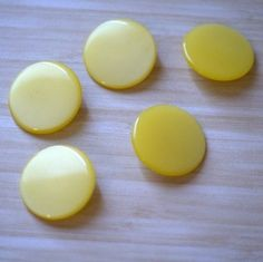 Extra Large Round Yellow Moonlow Vintage Lucite Buttons - perfect for Summer sewing!