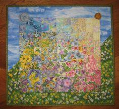 Art Quilt Spring Sunshine Garden Flowers Fabric by TahoeQuilts