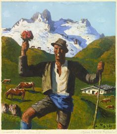 Alfons Walde, Sommer in Tirol Tempera, Mountain Pictures, Contemporary Paintings, Oil Paintings, Austria, Inspiration, Vintage, Photographers, Artists