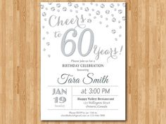 ------------------ *This listing is for customized printable invitation in digital format. *No hard copy will be shipped. *Size: inch *File type: high resolution 300 dpi JPG file and PDF file *All wording and color can be changed Gold Invitations, Printable Invitations, Invitation Ideas, Glitter Birthday Parties, Emoticons, Mom Birthday, Birthday Ideas, Golden Birthday, Texts