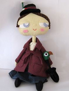 My Paper Crane made a Mary Poppins softie as the first in what she hopes will be a series of fictional heroines. I loved Mary Poppins as a kid (and. Mary Poppins, Plush Dolls, Blythe Dolls, Dolls Dolls, Fabric Dolls, Paper Dolls, Movie Party Decorations, Paperclay, Doll Tutorial