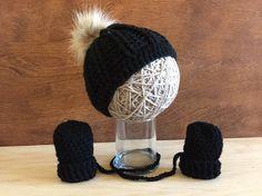 6da4b248c41 newborn fur pompom hat infant black fur pom pom hat newborn crochet winter  hat set crochet