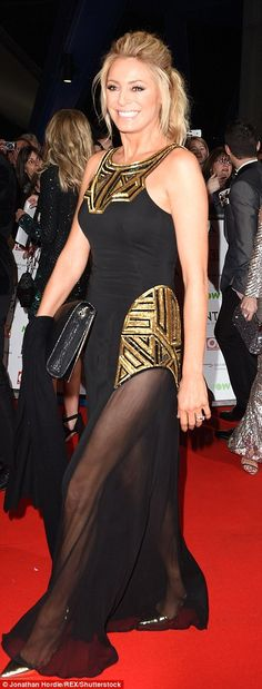 Figure-flaunting: Slipping her slender frame into the fitted black number, which featued fold art deco detailing, Tess was able to showcase her enviable figure Georgie Porter, Fashion Fail, Hollywood Celebrities, Gold Dress, Red Carpet Fashion, Hemline, Bridal Gowns, Tv Awards, Bright