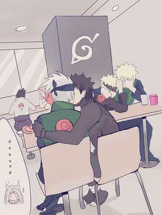 Naruto - Kakashi Hayate x Obito Uchiha - KakaObi Naruto Kakashi, Naruto Shippuden Sasuke, Anime Naruto, Naruto Comic, Naruto Cute, Sasunaru, Narusasu, Shikatema, Funny Naruto Memes