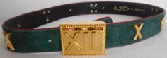 ESCADA Vintage Belt 42 12 Suede Leather Green Red Gold Roman Numbers Time Clock