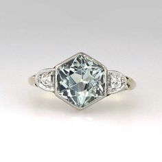 Fantastic 1920's 1.06ct t.w. Hexagonal Aquamarine & Diamond Ring 14k/Plat | Antique & Estate Jewelry | Jewelry Finds SOLD 11/25/14