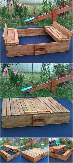 This idea can be created if a person wants a table for the picnic table with the seats for enjoying the picnic with the family. This idea can be copied with ease and it serves as sandbox when closed and works well as the picnic table when opened. So, have a look at the unique all in one wood pallets  bench, picnic table and the sand box.