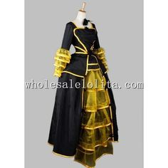 Luxury Noble Black and Yellow Gothic Victorian Era Dress Ball Gown... ❤ liked on Polyvore featuring dresses, prom dresses, gothic prom dresses, goth dresses, faux-leather dresses and yellow chiffon dress