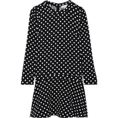 MICHAEL Michael Kors Evelyn polka-dot jersey mini dress ($255) ❤ liked on Polyvore featuring dresses, polka dot dress, short mini dress, black and white jersey, black and white pattern dress and short dresses